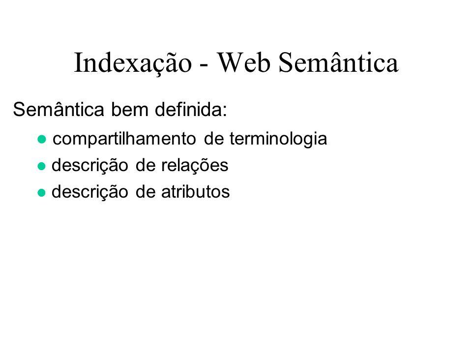 Indexação - Web Semântica Semântica bem definida: compartilhamento de terminologia descrição de relações descrição de atributos