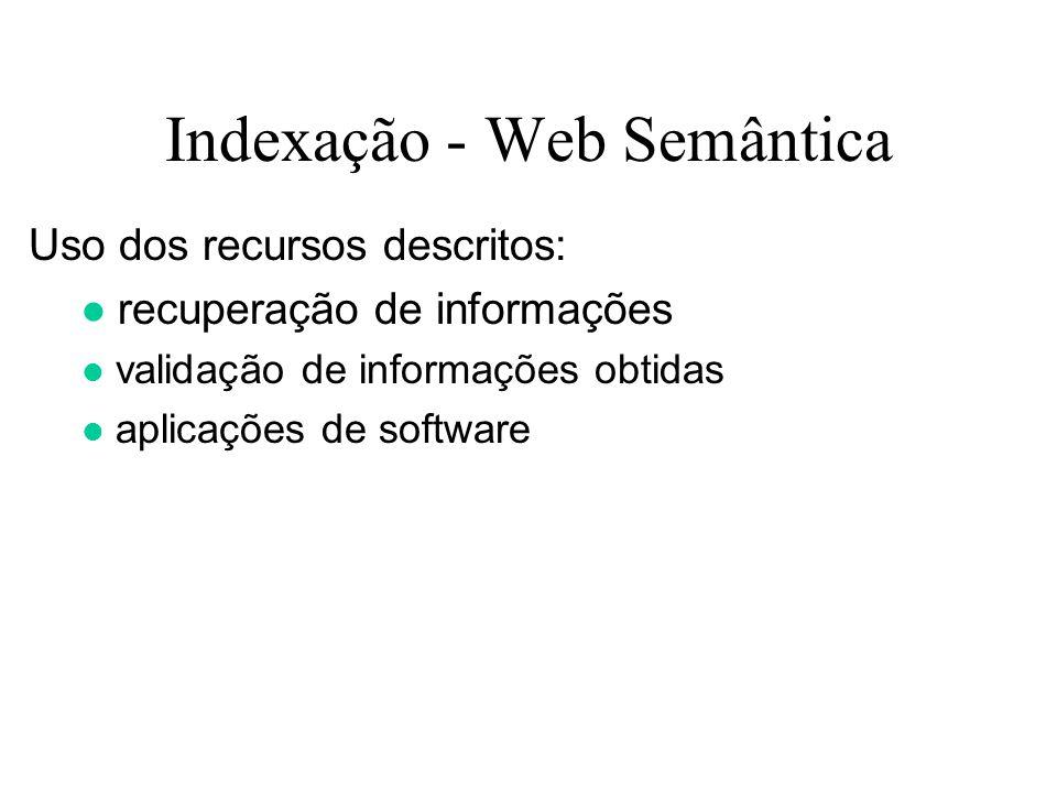 Indexação - Web Semântica Uso dos recursos descritos: recuperação de informações validação de informações obtidas aplicações de software