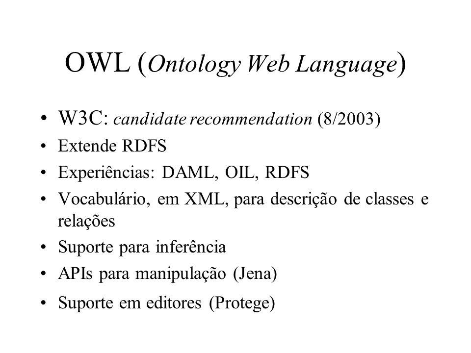 OWL ( Ontology Web Language ) W3C: candidate recommendation (8/2003) Extende RDFS Experiências: DAML, OIL, RDFS Vocabulário, em XML, para descrição de