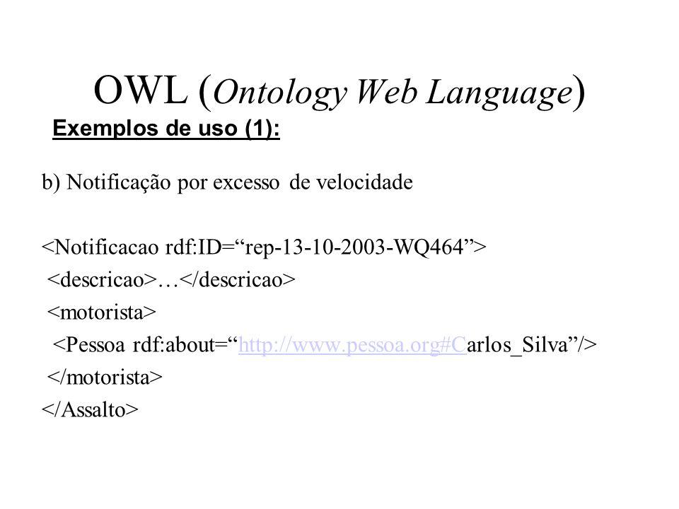 OWL ( Ontology Web Language ) b) Notificação por excesso de velocidade … http://www.pessoa.org#C Exemplos de uso (1):