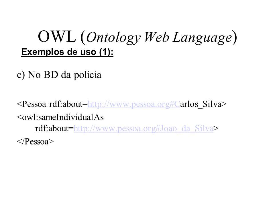 OWL ( Ontology Web Language ) c) No BD da polícia http://www.pessoa.org#C http://www.pessoa.org#Joao_da_Silva Exemplos de uso (1):