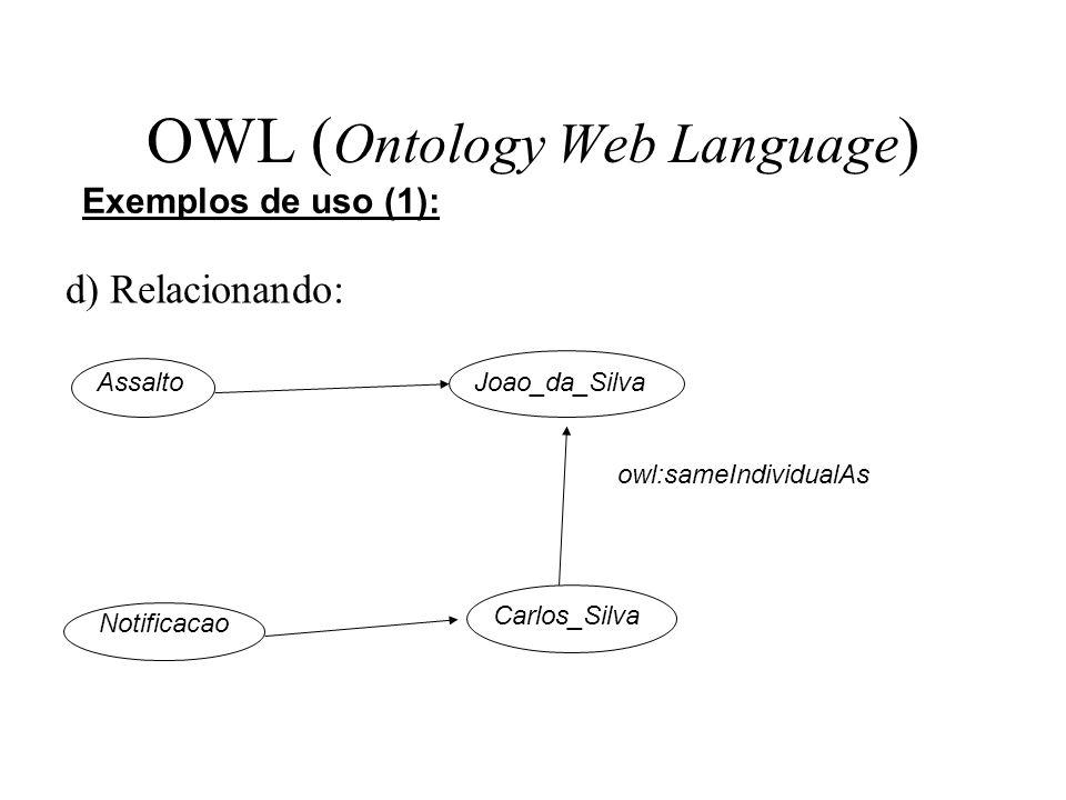 OWL ( Ontology Web Language ) d) Relacionando: Exemplos de uso (1): AssaltoJoao_da_Silva Notificacao Carlos_Silva owl:sameIndividualAs