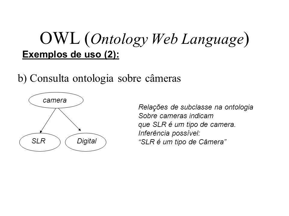 OWL ( Ontology Web Language ) b) Consulta ontologia sobre câmeras Exemplos de uso (2): camera DigitalSLR Relações de subclasse na ontologia Sobre came