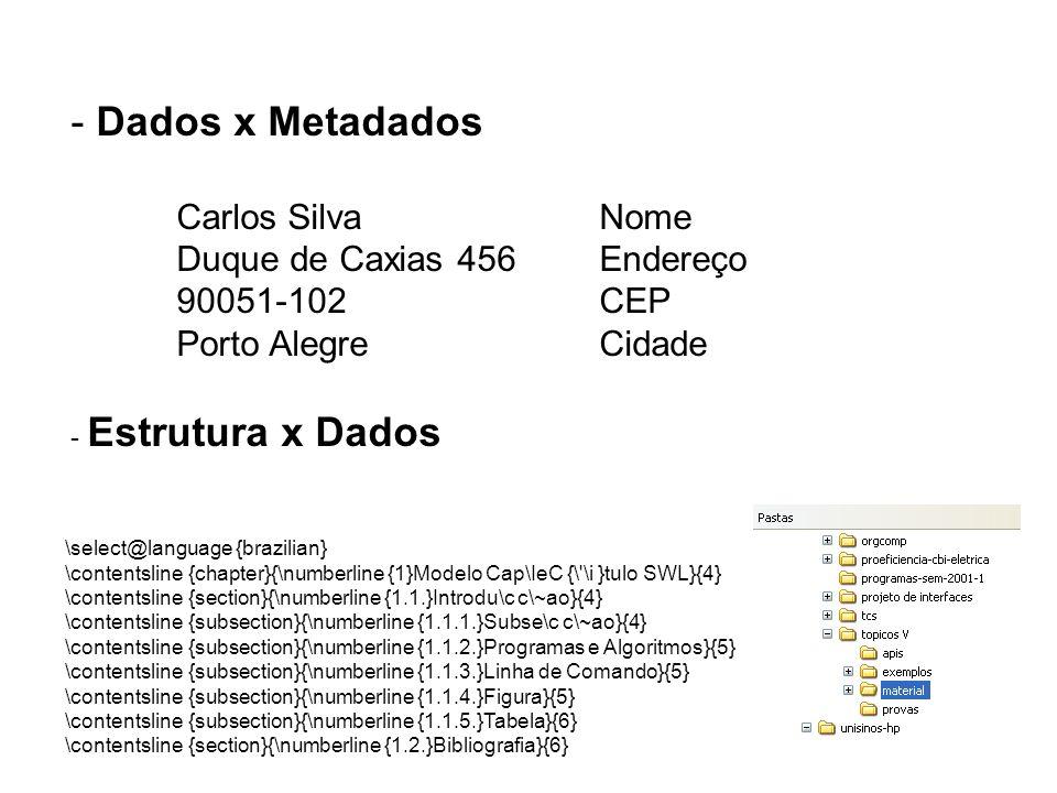 - Dados x Metadados Carlos SilvaNome Duque de Caxias 456Endereço 90051-102CEP Porto AlegreCidade - Estrutura x Dados \select@language {brazilian} \con