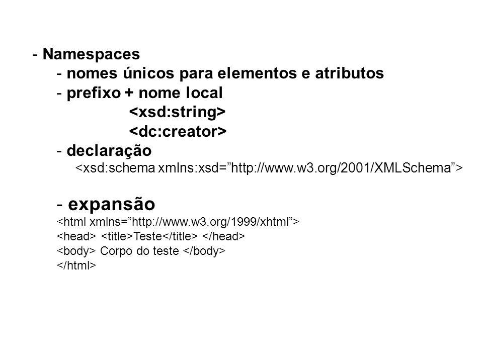 - Namespaces - nomes únicos para elementos e atributos - prefixo + nome local - declaração - expansão Teste Corpo do teste