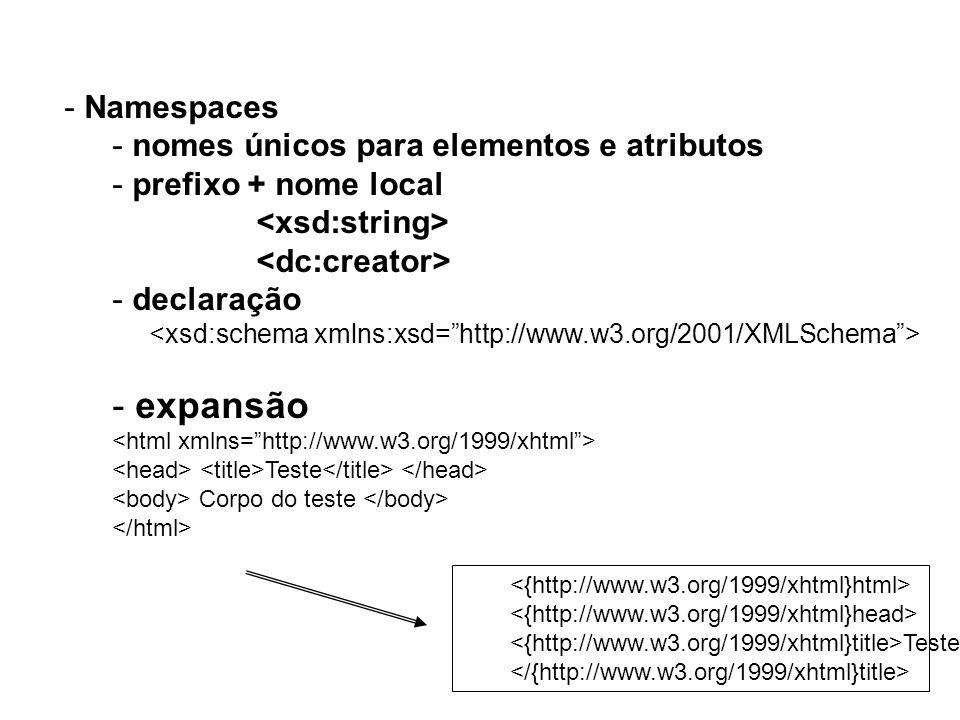 - Namespaces - nomes únicos para elementos e atributos - prefixo + nome local - declaração - expansão Teste Corpo do teste Teste