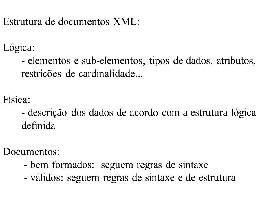 Estrutura de documentos XML: Lógica: - elementos e sub-elementos, tipos de dados, atributos, restrições de cardinalidade... Física: - descrição dos da