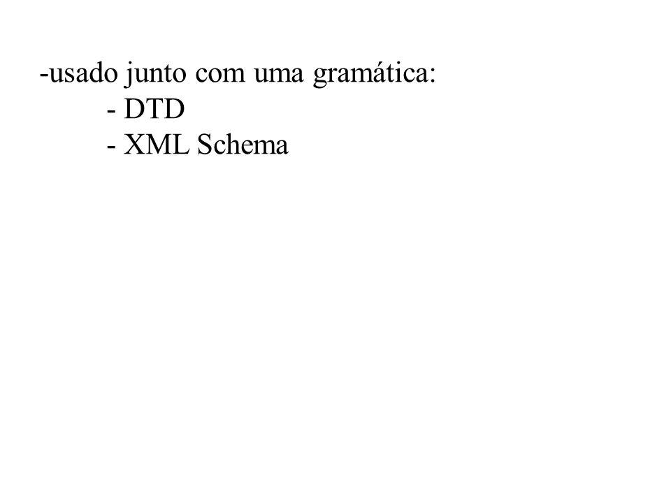 -usado junto com uma gramática: - DTD - XML Schema