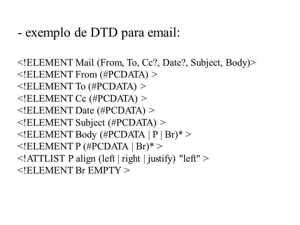 - exemplo de DTD para email: