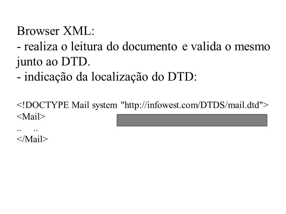 Browser XML: - realiza o leitura do documento e valida o mesmo junto ao DTD. - indicação da localização do DTD:..