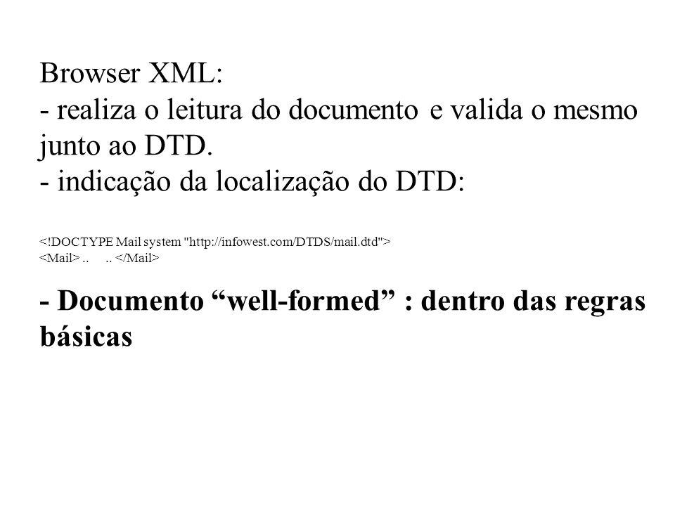 Browser XML: - realiza o leitura do documento e valida o mesmo junto ao DTD. - indicação da localização do DTD:.... - Documento well-formed : dentro d