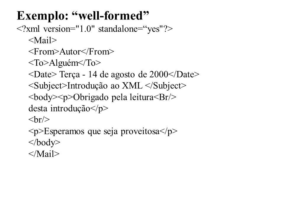 Exemplo: well-formed Autor Alguém Terça - 14 de agosto de 2000 Introdução ao XML Obrigado pela leitura desta introdução Esperamos que seja proveitosa