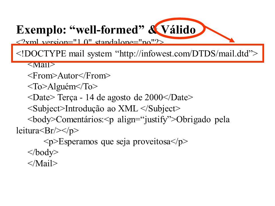 Exemplo: well-formed & Válido Autor Alguém Terça - 14 de agosto de 2000 Introdução ao XML Comentários: Obrigado pela leitura Esperamos que seja provei