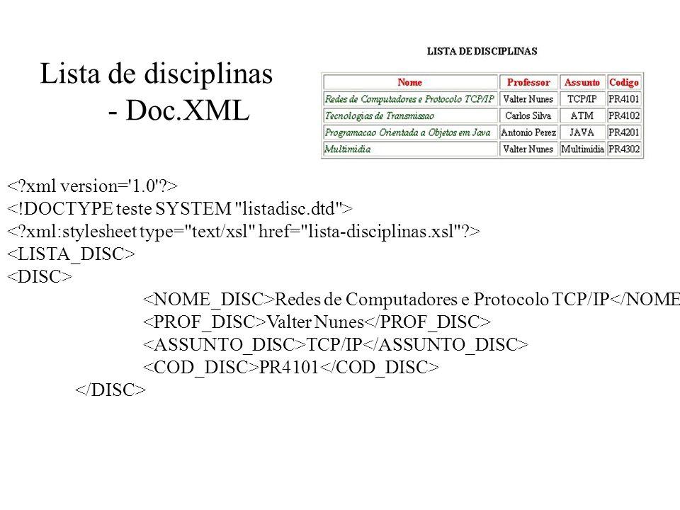 Lista de disciplinas - Doc.XML Redes de Computadores e Protocolo TCP/IP Valter Nunes TCP/IP PR4101