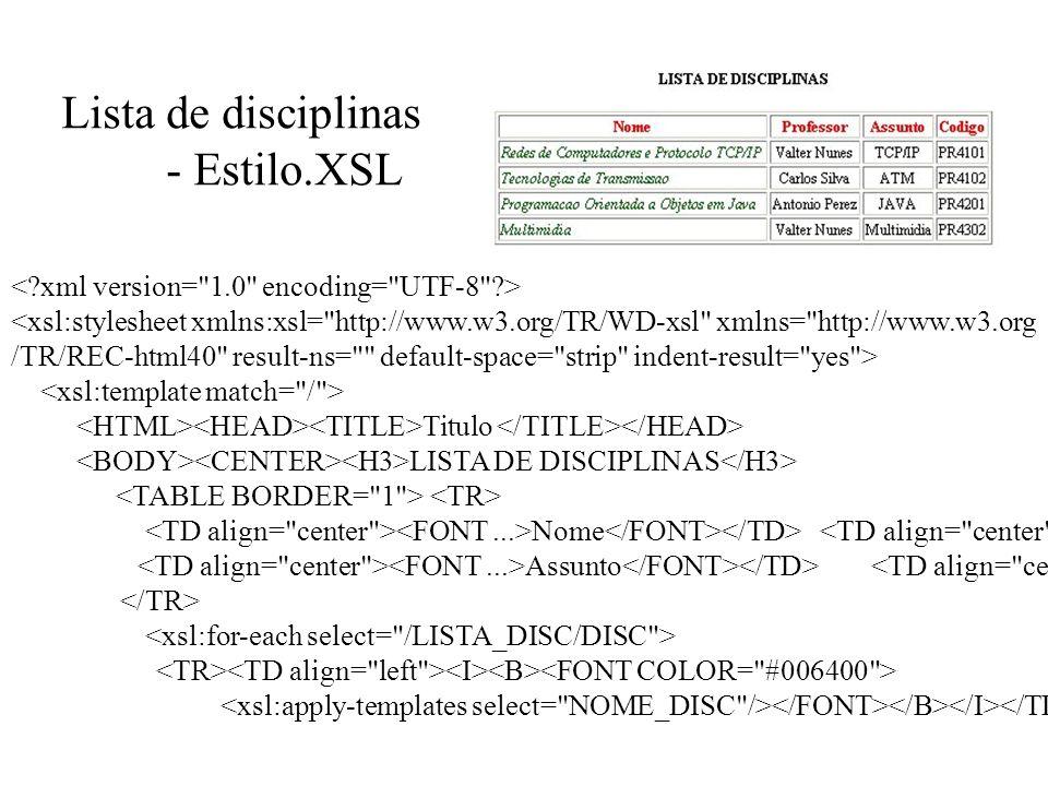 Lista de disciplinas - Estilo.XSL <xsl:stylesheet xmlns:xsl=