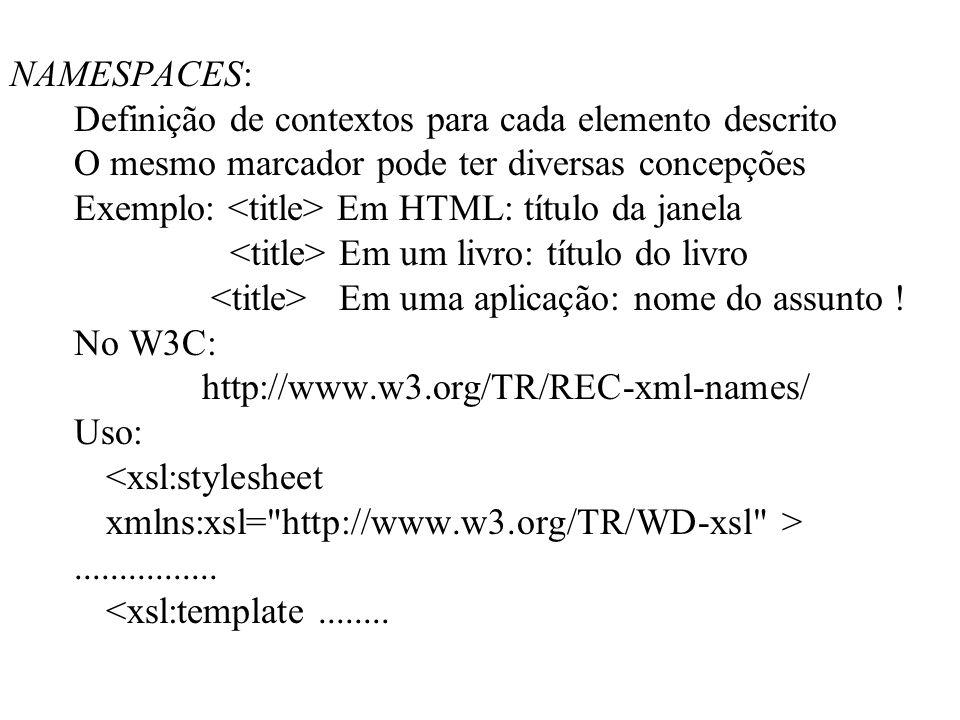 NAMESPACES: Definição de contextos para cada elemento descrito O mesmo marcador pode ter diversas concepções Exemplo: Em HTML: título da janela Em um