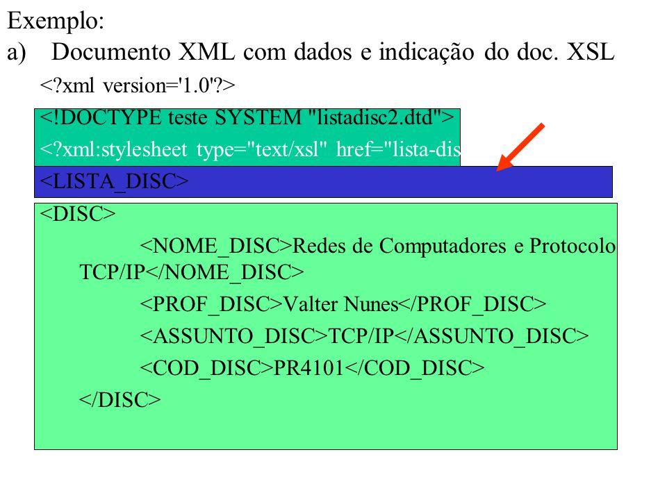 Exemplo: a)Documento XML com dados e indicação do doc. XSL Redes de Computadores e Protocolo TCP/IP Valter Nunes TCP/IP PR4101