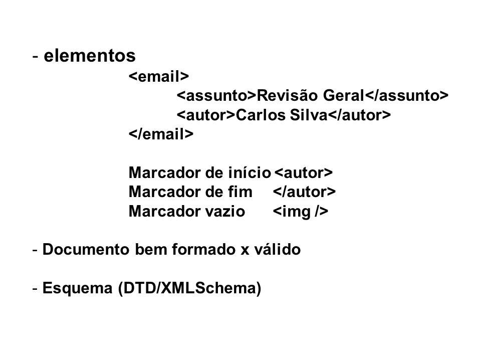 - elementos Revisão Geral Carlos Silva Marcador de início Marcador de fim Marcador vazio - Documento bem formado x válido - Esquema (DTD/XMLSchema)
