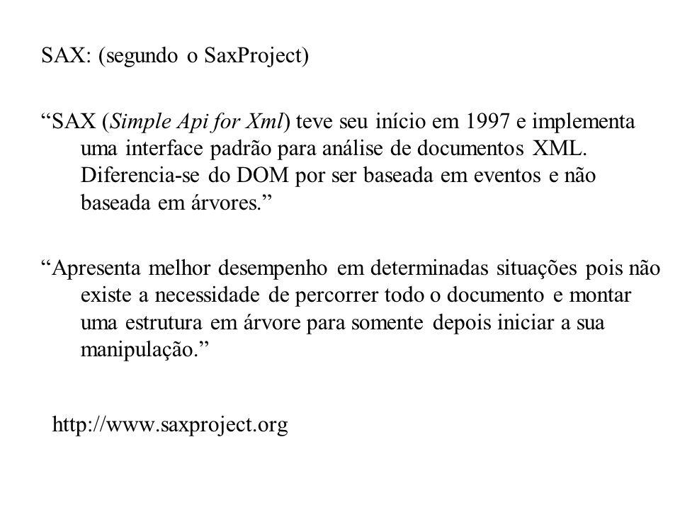 SAX: (segundo o SaxProject) SAX (Simple Api for Xml) teve seu início em 1997 e implementa uma interface padrão para análise de documentos XML. Diferen