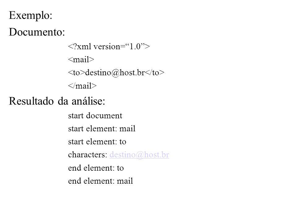 Exemplo: Documento: destino@host.br Resultado da análise: start document start element: mail start element: to characters: destino@host.brdestino@host