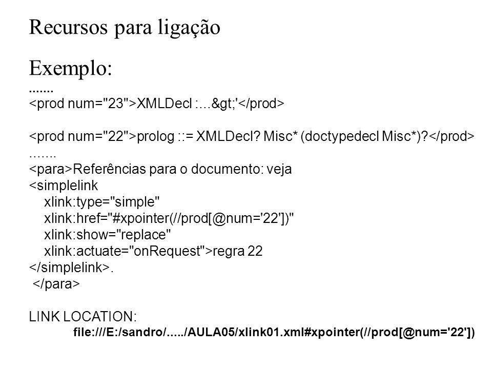 Recursos para ligação Exemplo:....... XMLDecl :...&gt;' prolog ::= XMLDecl? Misc* (doctypedecl Misc*)?....... Referências para o documento: veja <simp