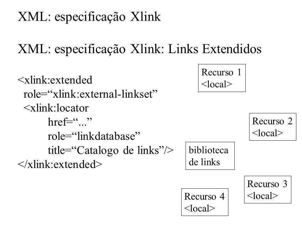 XML: especificação Xlink XML: especificação Xlink: Links Extendidos <xlink:extended role=xlink:external-linkset <xlink:locator href=... role=linkdatab
