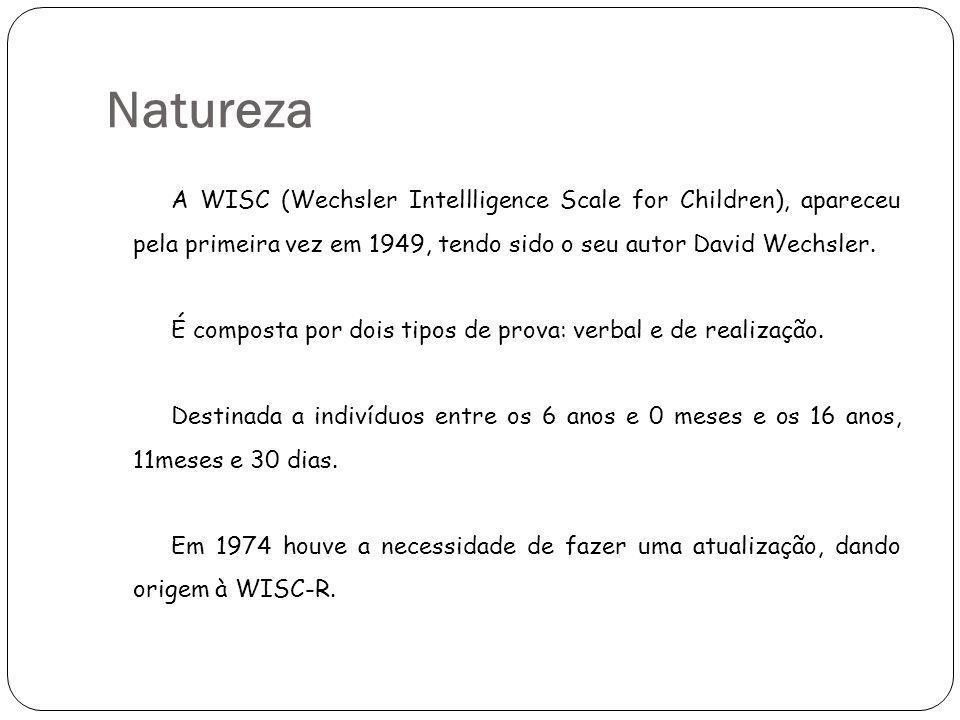 Natureza A WISC (Wechsler Intellligence Scale for Children), apareceu pela primeira vez em 1949, tendo sido o seu autor David Wechsler. É composta por
