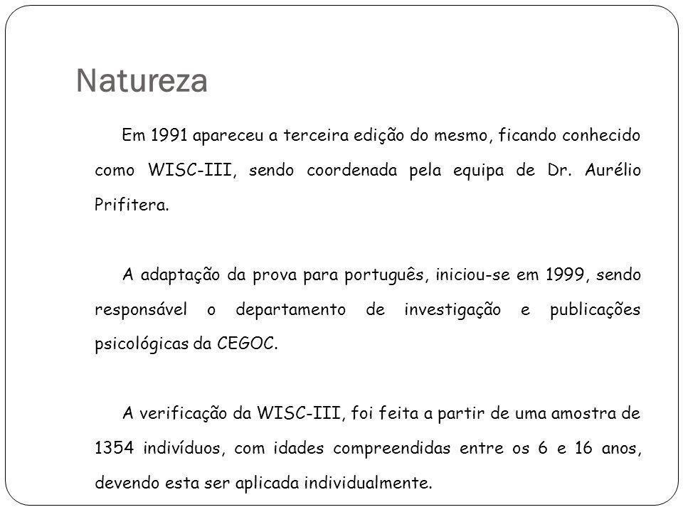 Natureza Em 1991 apareceu a terceira edição do mesmo, ficando conhecido como WISC-III, sendo coordenada pela equipa de Dr. Aurélio Prifitera. A adapta