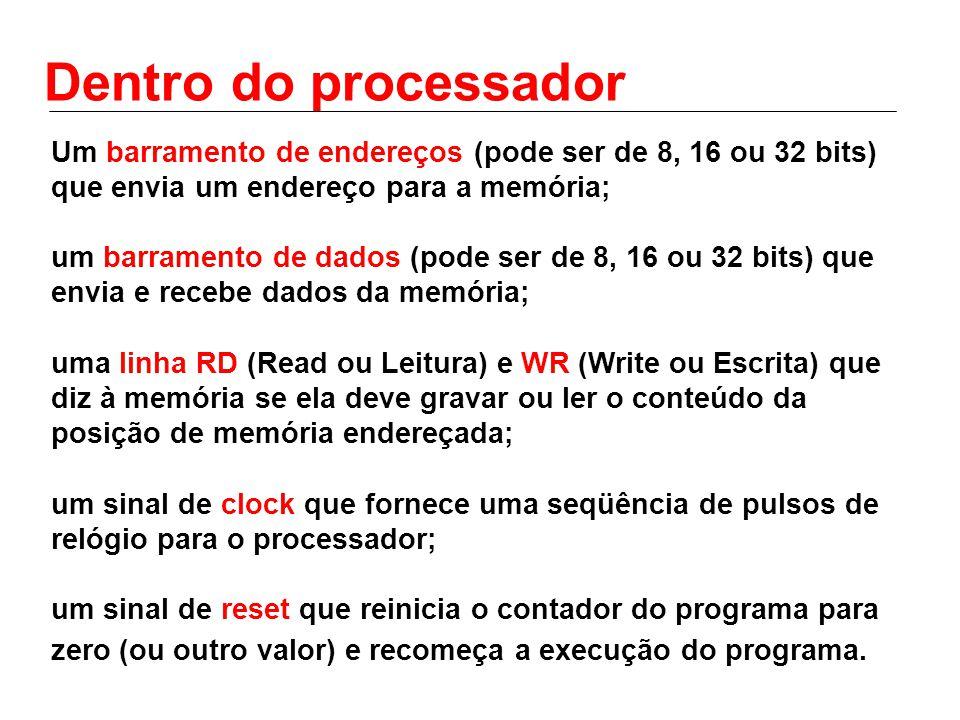 Um barramento de endereços (pode ser de 8, 16 ou 32 bits) que envia um endereço para a memória; um barramento de dados (pode ser de 8, 16 ou 32 bits)
