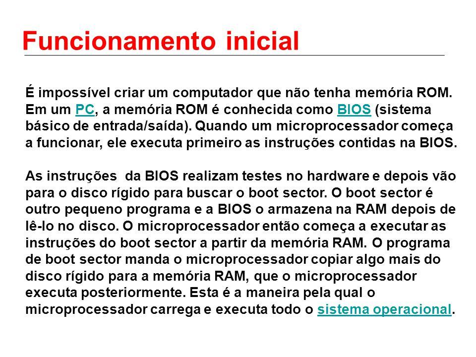 Funcionamento inicial É impossível criar um computador que não tenha memória ROM. Em um PC, a memória ROM é conhecida como BIOS (sistema básico de ent