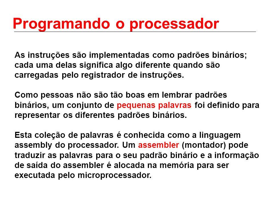Programando o processador As instruções são implementadas como padrões binários; cada uma delas significa algo diferente quando são carregadas pelo re