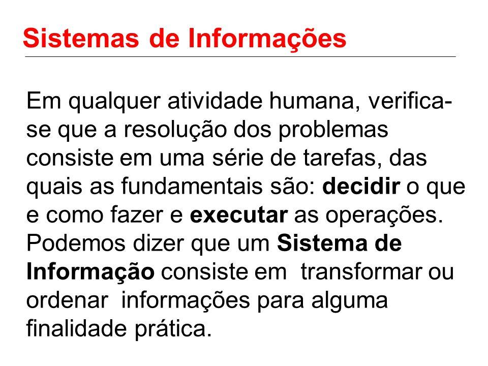 Sistemas de Informações Em qualquer atividade humana, verifica- se que a resolução dos problemas consiste em uma série de tarefas, das quais as fundam
