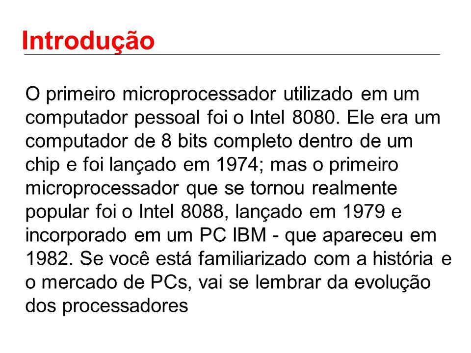 Introdução O 8088 evoluiu para o 80286, depois para o 80386, 80486, Pentium, Pentium II, Pentium III e Pentium 4.