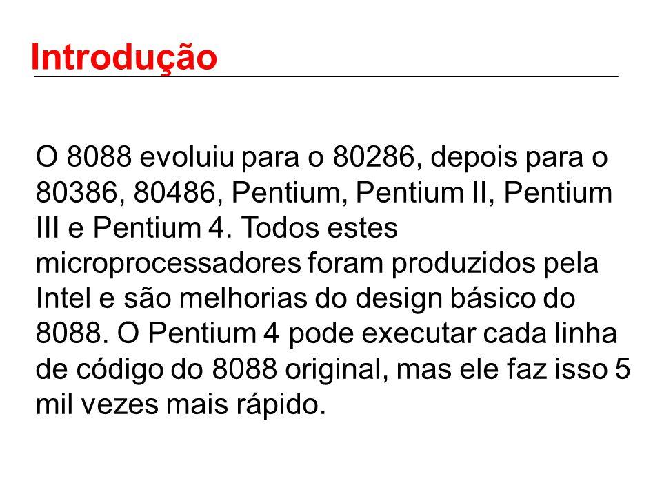 Introdução O 8088 evoluiu para o 80286, depois para o 80386, 80486, Pentium, Pentium II, Pentium III e Pentium 4. Todos estes microprocessadores foram