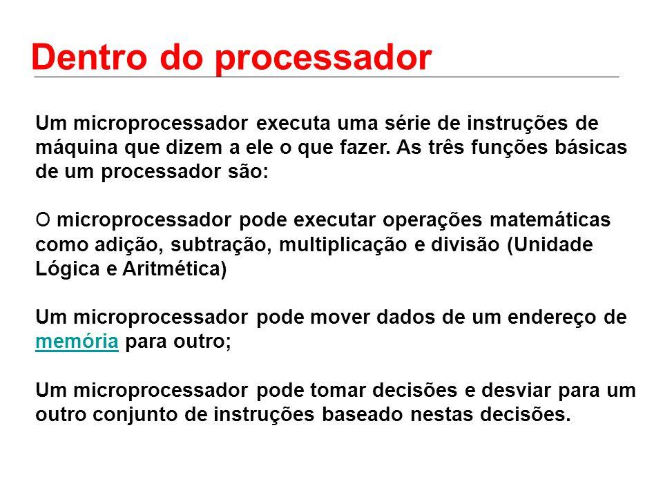 Dentro do processador Um microprocessador executa uma série de instruções de máquina que dizem a ele o que fazer. As três funções básicas de um proces