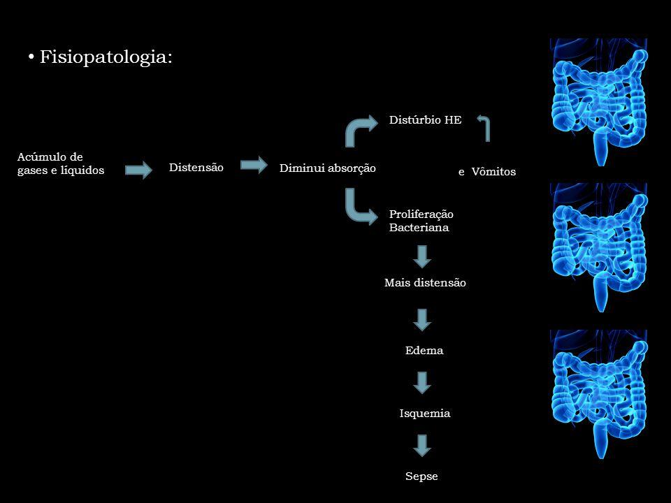 Fisiopatologia: Diminui absorção Distensão Acúmulo de gases e líquidos Proliferação Bacteriana Distúrbio HE Mais distensão Edema Isquemia Sepse e Vômi