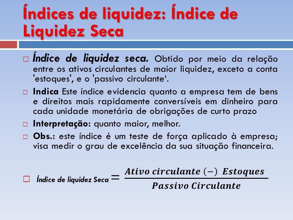 Índices de liquidez: Índice de Liquidez Seca
