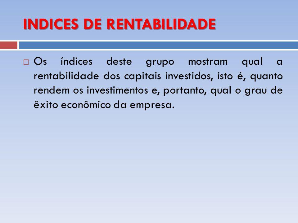 INDICES DE RENTABILIDADE Os índices deste grupo mostram qual a rentabilidade dos capitais investidos, isto é, quanto rendem os investimentos e, portan