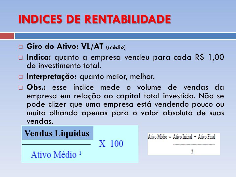 INDICES DE RENTABILIDADE Giro do Ativo: VL/AT (médio) Indica: quanto a empresa vendeu para cada R$ 1,00 de investimento total. Interpretação: quanto m