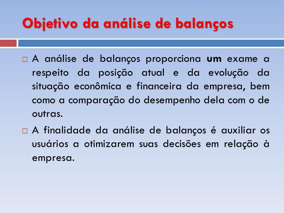 Objetivo da análise de balanços A análise de balanços proporciona um exame a respeito da posição atual e da evolução da situação econômica e financeir