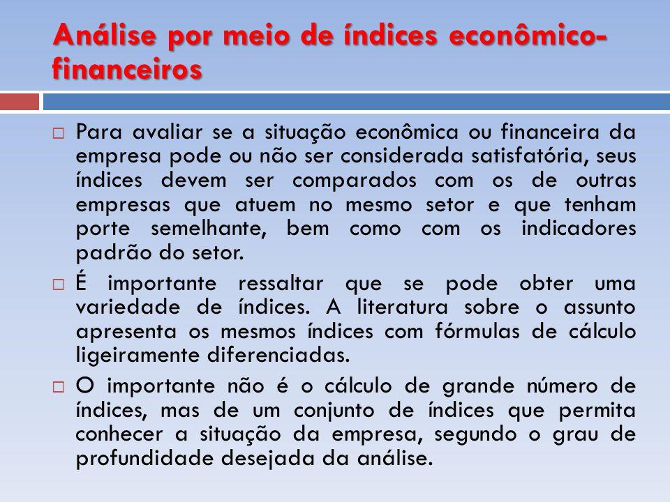 Análise por meio de índices econômico- financeiros Para avaliar se a situação econômica ou financeira da empresa pode ou não ser considerada satisfató