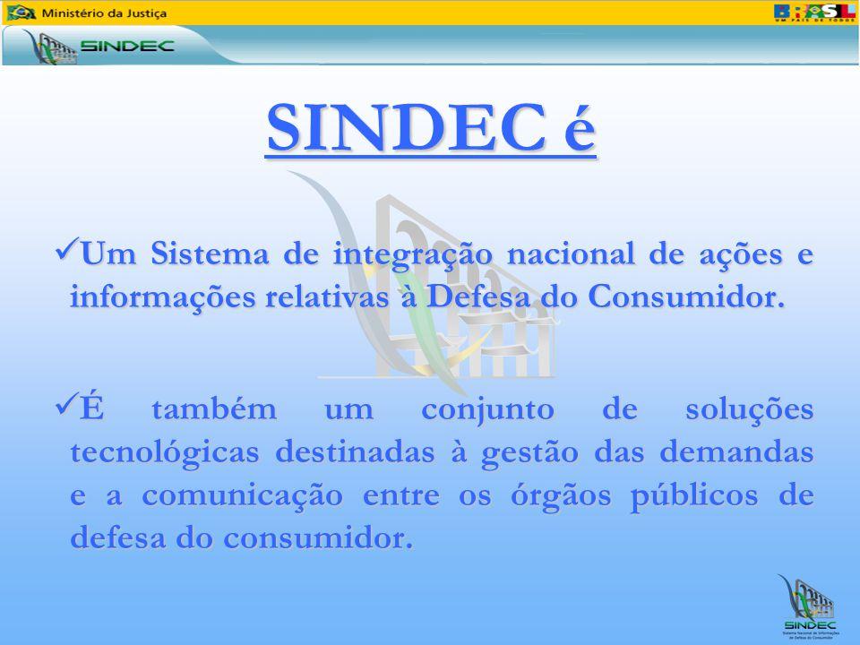 SINDEC é Um Sistema de integração nacional de ações e informações relativas à Defesa do Consumidor. Um Sistema de integração nacional de ações e infor