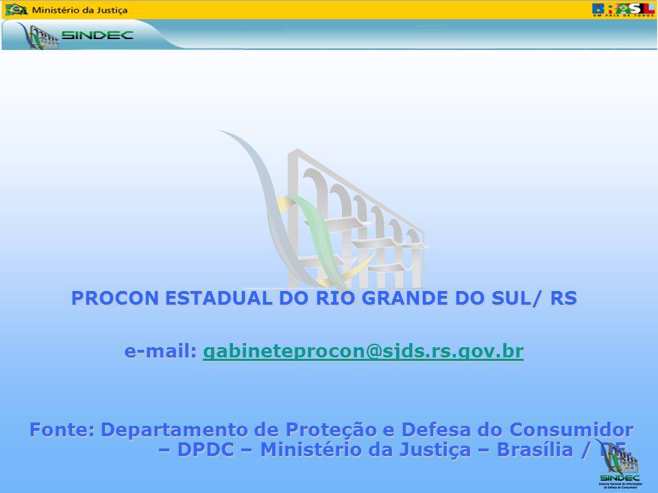 PROCON ESTADUAL DO RIO GRANDE DO SUL/ RS e-mail: gabineteprocon@sjds.rs.gov.br gabineteprocon@sjds.rs.gov.br Fonte: Departamento de Proteção e Defesa do Consumidor – DPDC – Ministério da Justiça – Brasília / DF.