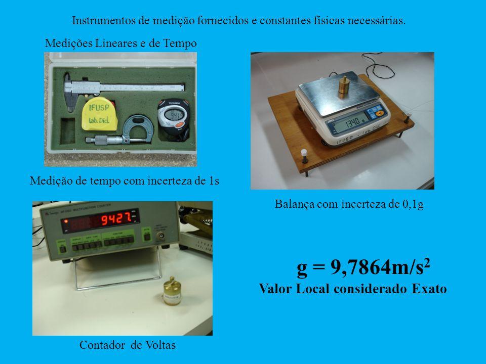 Instrumentos de medição fornecidos e constantes físicas necessárias. g = 9,7864m/s 2 Valor Local considerado Exato Contador de Voltas Balança com ince