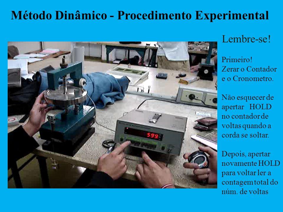 Método Dinâmico - Procedimento Experimental Lembre-se! Primeiro! Zerar o Contador e o Cronometro. Não esquecer de apertar HOLD no contador de voltas q
