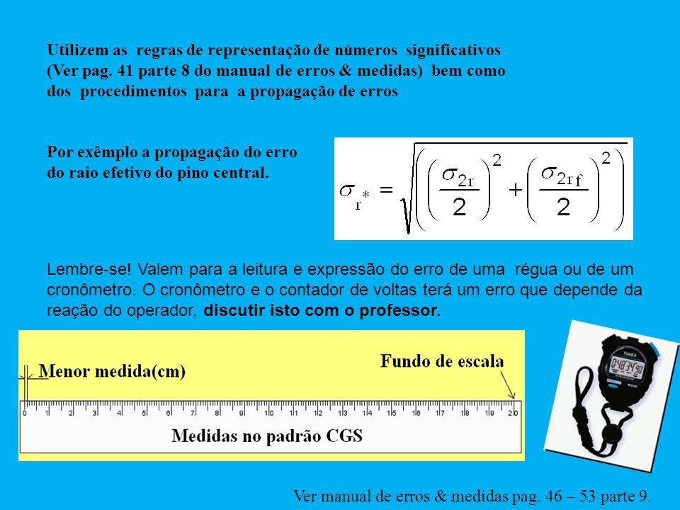 Utilizem as regras de representação de números significativos (Ver pag. 41 parte 8 do manual de erros & medidas) bem como dos procedimentos para a pro