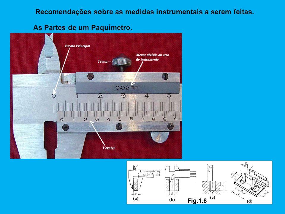 As Partes de um Paquímetro. Recomendações sobre as medidas instrumentais a serem feitas.