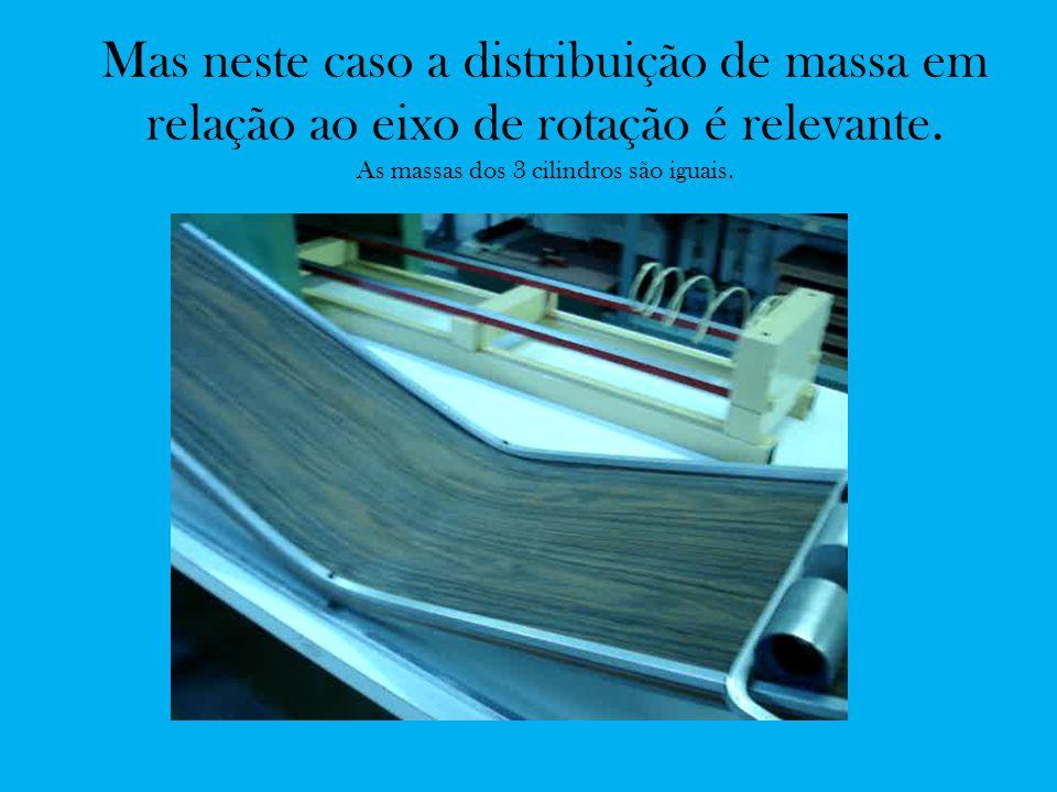 Mas neste caso a distribuição de massa em relação ao eixo de rotação é relevante. As massas dos 3 cilindros são iguais.