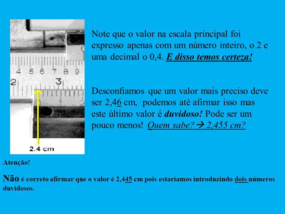 Note que o valor na escala principal foi expresso apenas com um número inteiro, o 2 e uma decimal o 0,4. E disso temos certeza! Desconfiamos que um va