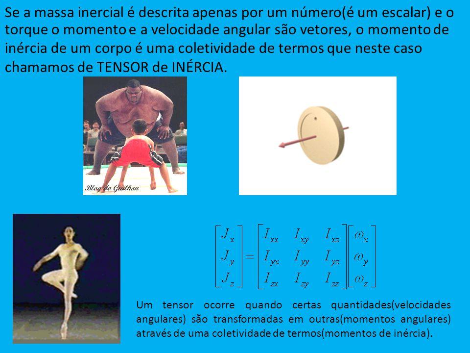 Se a massa inercial é descrita apenas por um número(é um escalar) e o Um tensor ocorre quando certas quantidades(velocidades angulares) são transforma